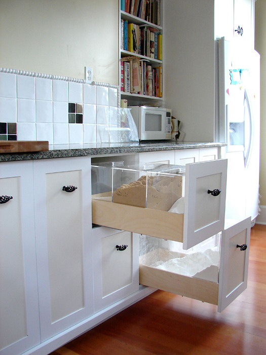 large cabinet drawers for flour and grain storage