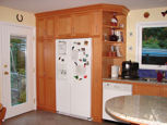 refrigerator with surrounding cabinets thumbnail