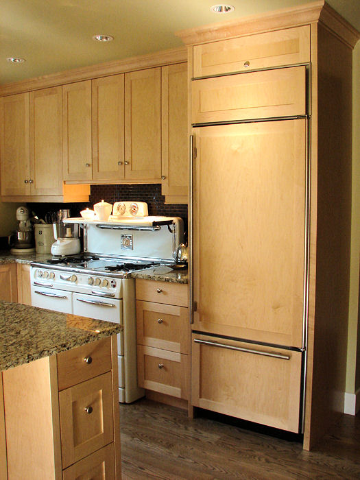 kitchen cabinets with stove and refrigerator