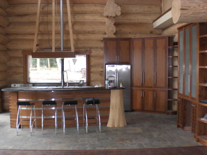 log cabin kitchen and island