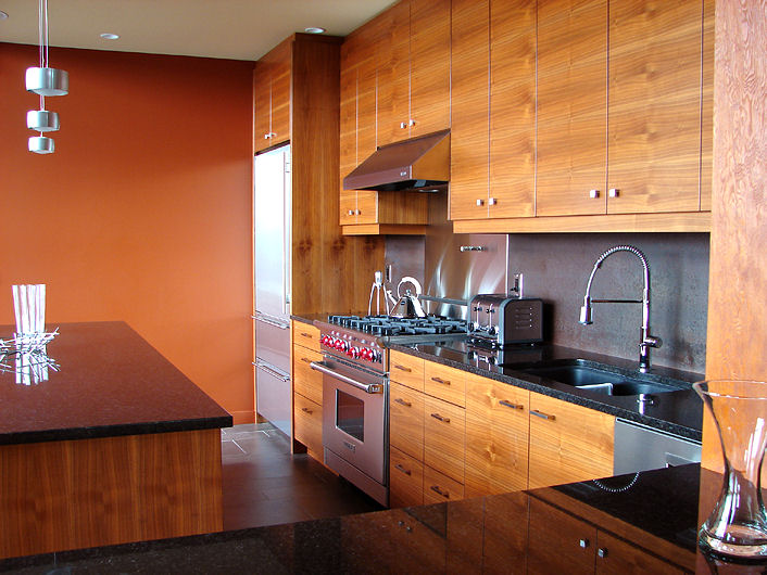 wood grain upper and lower kitchen cabinets