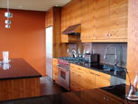 wood grain upper and lower kitchen cabinets thumbnail