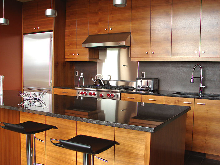 different view of wood grain kitchen cabinets